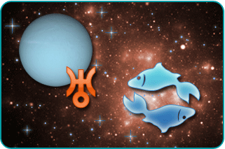 Illustrated sign of Pisces over space background with Uranus, complete with the sign for Uranus