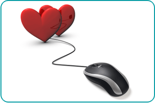A computer mouse plugged into two illustrated hearts