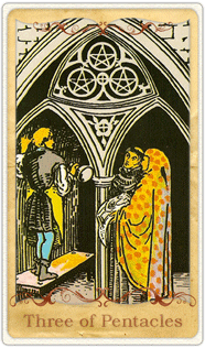 The 3 of Pentacles Tarot Card based on Rider-Waite