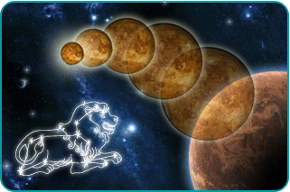 The planet Mars going retrograde with an illustrated constellation of Leo in the foreground