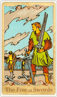 The 5 of Swords Tarot Card based on Rider-Waite