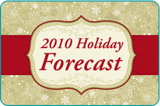 A holiday wrapped gift with a Holiday 2010 Forecast tag