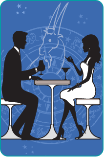 Black and white illustration of a couple sitting at dinner with the Capricorn Goat over a blue background behind them