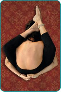 A woman contorted into a pretzel