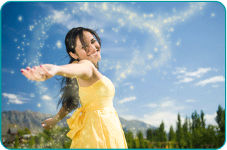 A woman in a meadow sprinkling magical sparkles behind her