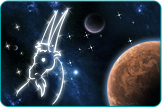 The planet Mars with illustrated constellation of the Capricorn goat