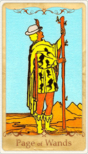 The Page of Wands Tarot Card based on Rider-Waite