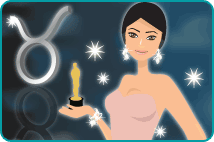 Illustration of Penélope Cruz, holding her Oscar award with the Taurus astrological sign in the background