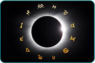 A solar eclipse surrounded by the twelve zodiac signs