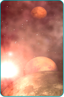 A scene of planets and moons in a nebula