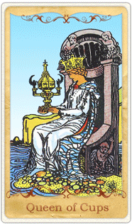 The Queen of Cups Tarot Card based on Rider-Waite
