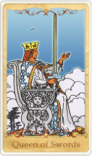 The Queen of Swords Tarot Card based on Rider-Waite