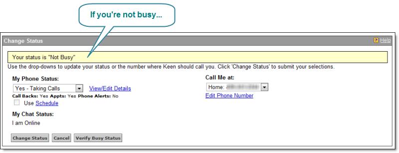 Screenshot of Not Busy Status