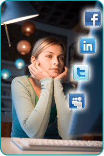 A woman at her computer with illustrated icons for Facebook, Twitter, LinkedIn and MySpace in the foreground