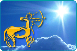 The sun shining brightly over a cloud with an illustration of the Sagittarius satyr in the foreground
