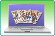 A computer laptop with a spread of Tarot cards on its screen