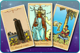 The 5 of Cups, King of Swords and 4 of Cups Tarot cards based on Rider-Waite