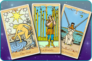 The Star, 9 of Wands and 2 of Swords Tarot cards based on Rider-Waite