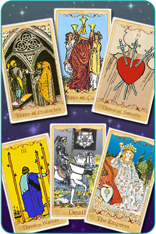 The 3 of Cups, 3 of Pentacles, 3 of Swords, 3 of Wands, The Empress and Death Tarot cards, based on Rider-Waite