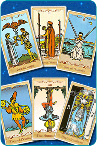 The 2 of Cups, 2 of Pentacles, 2 of Swords, 2 of Wands, The High Priestess and The Hanged Man Tarot cards, based on Rider-Waite