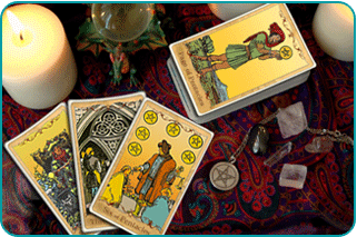 A Tarot reader's table with a number of Pentacles cards showing