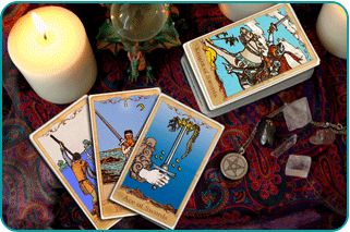 A Tarot reader's table with a number of Swords cards showing