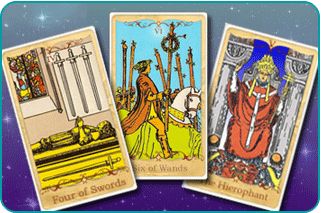 The 4 of Swords, 6 of Wands and The Hierophant Tarot cards