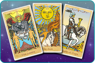 The Lovers, The Sun and Knight of Cups Tarot cards based on Rider-Waite