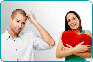 A woman hugging a heart-shaped pillow while a man scratches his head