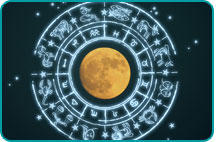 A full moon surrounded by an illustrated zodiac wheel