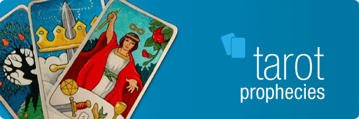 Banner for Keen 'Tarot Prophecies' articles featuring three Tarot cards including The Magician