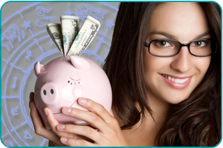 A smiling woman holding up her piggy bank with a zodiac wheel behind her